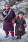 Portrait von zwei tibetanischen Jungen in der nationalen Kleidung Stockbild