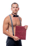 Portrait of a waiter with a naked torso with a menu Stock Image