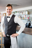 Portrait of waiter standing at bar counter. In restaurant Stock Photo