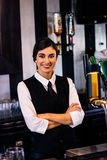 Portrait of waitress behind the counter Stock Image