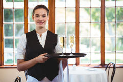 Portrait of waitress holding serving tray with champagne flutes  Royalty Free Stock Photo