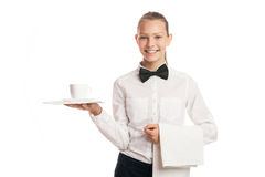 Portrait of waitress holding tray with cup Stock Photography