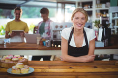 Portrait of waitress standing behind the counter. In cafe Stock Photography
