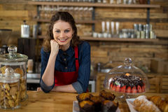 Portrait of waitress standing behind the counter Stock Photos