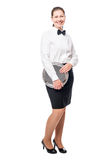 Portrait of a waitress with a tray full length on white Royalty Free Stock Photo