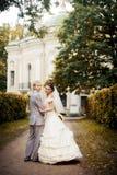 Portrait of walking newlyweds Stock Images