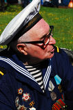 Portrait of a war veteran in sailors uniform. Royalty Free Stock Image