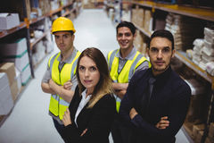 Portrait of warehouse manager and workers Royalty Free Stock Photos