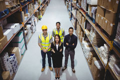Portrait of warehouse manager and workers Royalty Free Stock Image