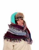 Portrait of warm dressed girl. Royalty Free Stock Photo