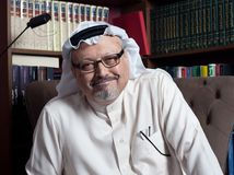 Portrait of Washington Post`s Saudi journalist Jamal Khashoggi royalty free stock image