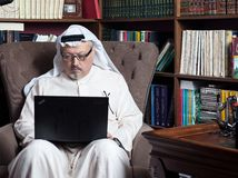 Portrait of Washington Post`s Saudi journalist Jamal Khashoggi stock photo