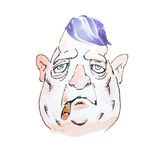 Portrait of watercolor cartoon character middle-aged gloomy Mafioso or gangster smoking cigar with heavy look Royalty Free Stock Image