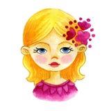 Portrait watercolor girl vector illustration Stock Images