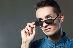 Portrait wear sunglasses Royalty Free Stock Image