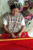 Portrait of weaving Ixil maya Indian woman Stock Photos