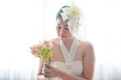Portrait Wedding asian woman. Beautiful bride with bouquet Royalty Free Stock Images
