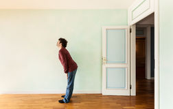 Weird guy in a room Stock Images