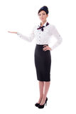 Portrait of welcoming stewardess isolated on white Royalty Free Stock Photo