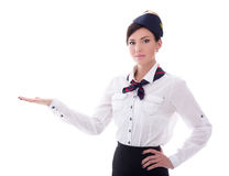 Portrait of welcoming stewardess in uniform isolated on white Stock Photography