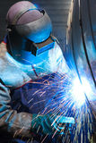 Portrait of a welder. Front image of welder welding on tanker Royalty Free Stock Images