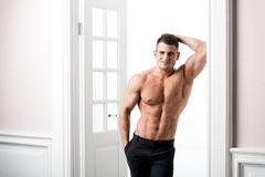 Portrait of a well built shirtless muscular male model against light background royalty free stock photo