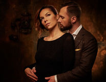 Portrait of well-dressed couple in expression of feelings Stock Photo