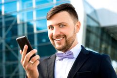 Portrait of well-dressed man on contempopary Royalty Free Stock Image