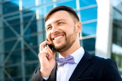 Portrait of well-dressed man on contempopary Royalty Free Stock Photo