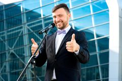 Portrait of well-dressed man on the contemporary Stock Photo