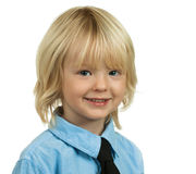 Portrait of a well-dressed young boy. Portrait of a well-dressed and handsome young school boy isolated on white royalty free stock photos