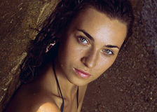 Portrait of wet girl. Sexy looks. Royalty Free Stock Image