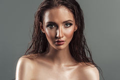 Portrait of wet hair sensual beautiful young woman. plump l Royalty Free Stock Photos
