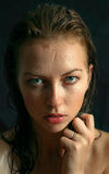Portrait of wet woman. Wet woman portrait with water drops on the face Royalty Free Stock Photos