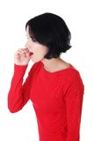 Portrait of a whispering woman Royalty Free Stock Images