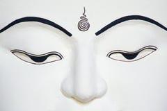 Portrait of White Buddha Face. Burmese Buddha Temple Royalty Free Stock Images