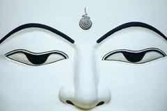 Portrait of White Buddha Face. Burmese Buddha Temple Royalty Free Stock Photography