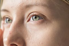 Portrait of white woman closeup on eyes stock image