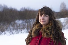 Portrait white woman in fur coat winter day Royalty Free Stock Photos