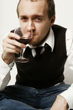 Portrait with wine royalty free stock photography