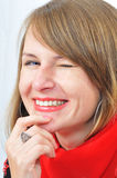 Portrait of the winking girl Stock Photography