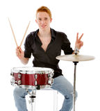 Portrait of a winning musician with his drums Stock Photos