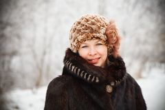 Portrait. Winter portrait of a beautiful girl. close-up Royalty Free Stock Image