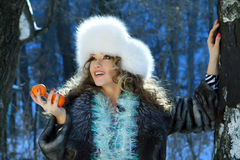 Portrait of a winter carnival woman Stock Images