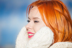 Portrait winter fashion woman warm clothing outdoor Royalty Free Stock Photos