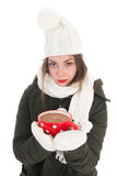 Portrait winter girl with hot chocolate Royalty Free Stock Images