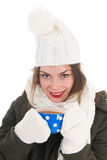 Portrait winter girl with hot chocolate Royalty Free Stock Image