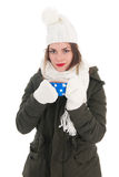 Portrait winter girl with hot chocolate Royalty Free Stock Photography