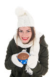 Portrait winter girl with hot chocolate Stock Image