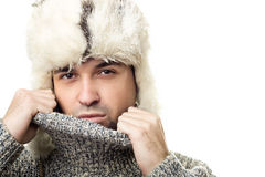 Portrait of a winter man stock photography